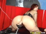 Phat ass fishnet babe boned by dildo machine